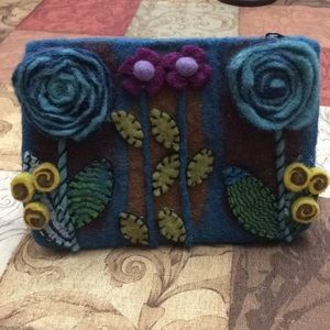 Rising tide 100% wool floral zip top travel pouch